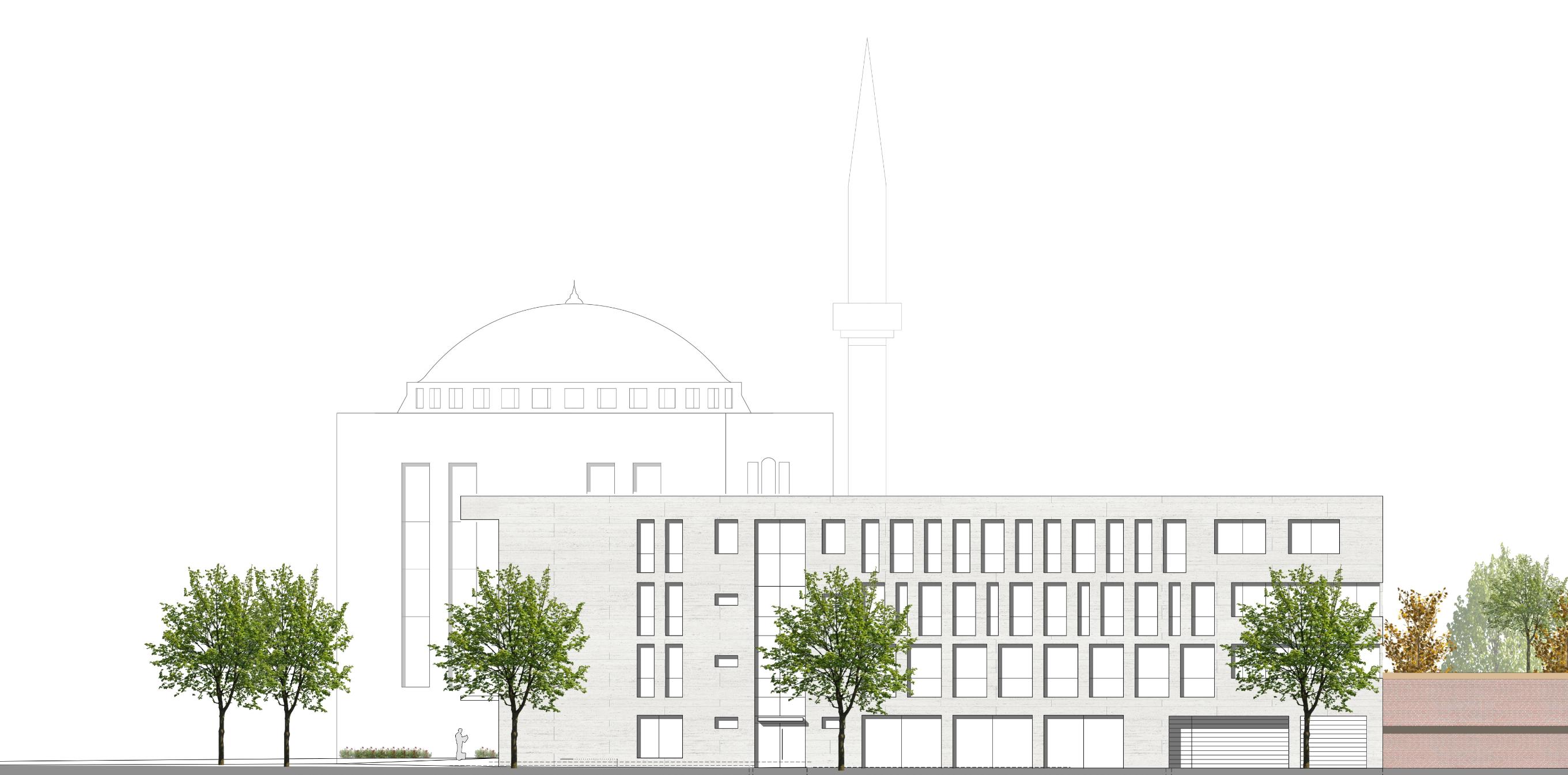Ansicht der Neuen Moschee aus Perspektive der Gladbacher Straße