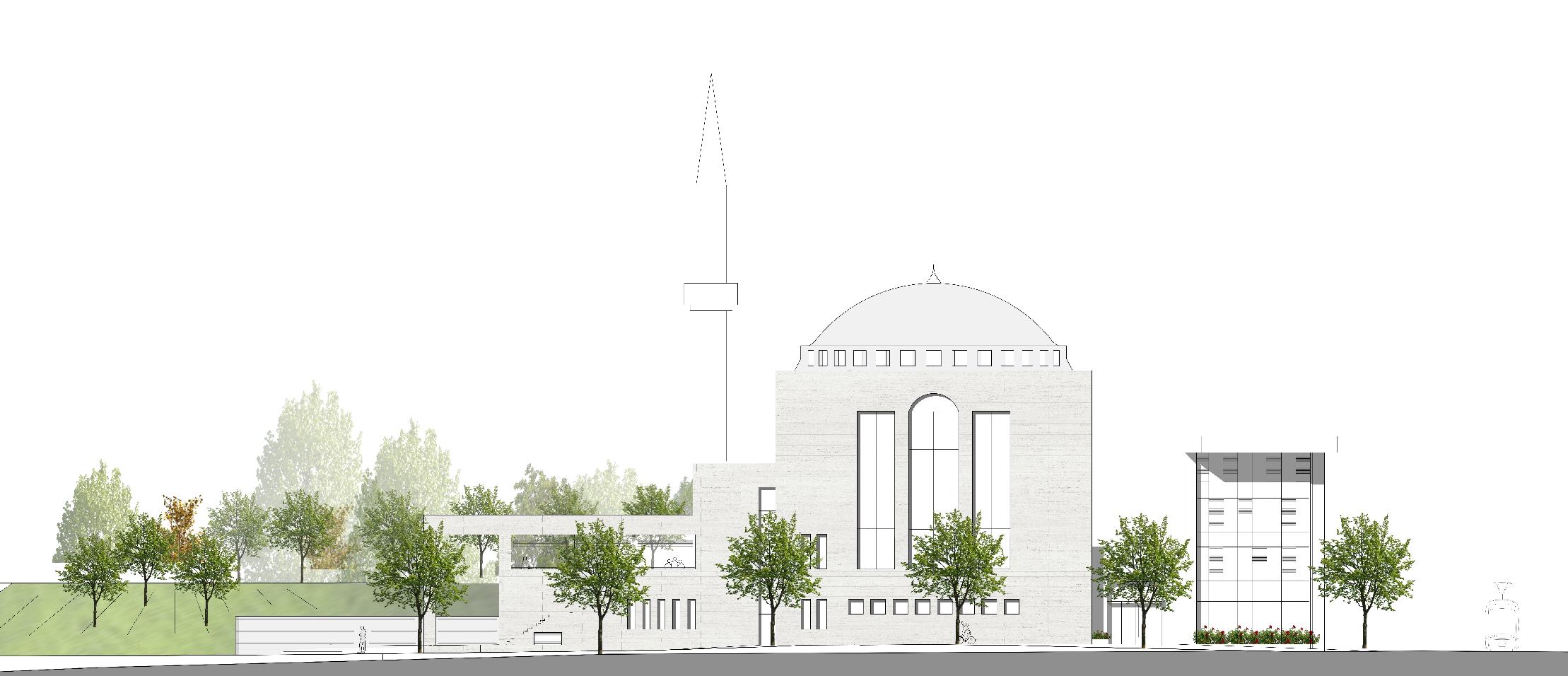 Ansicht der Neuen Moschee aus Perspektive des Deutschen Rings